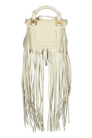 Front Image of Chloe Marcie Fringe Handbag Natural White