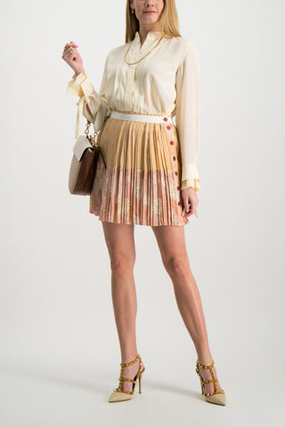 Full Body Image Of Model Wearing Pleated Button Skirt