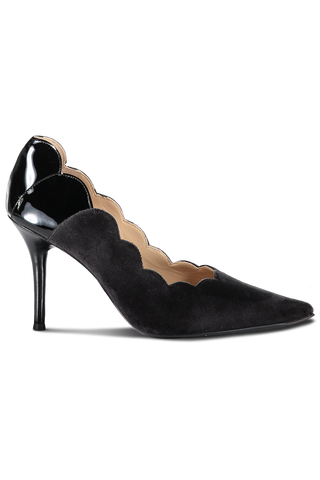 Pointy Lauren Velvet Patent 90Mm Pump Charcoal Black