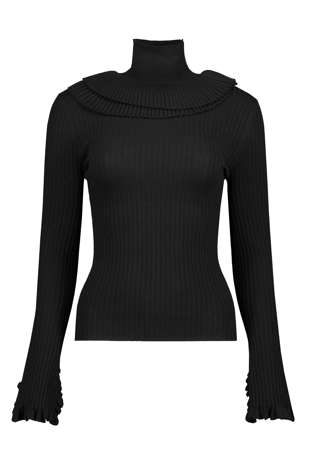RUFFLE TURTLENECK SWEATER BLACK