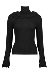 Ruffle Turtleneck Sweater In Black