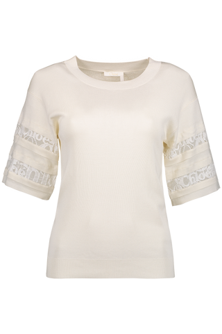 Front Image Short Sleeve Lace Sweater