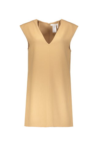 Sleeveless Vest Dress In Barley Brown