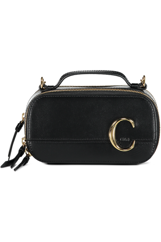 Front view image of The Chloe C Mini Vanity Bag Black