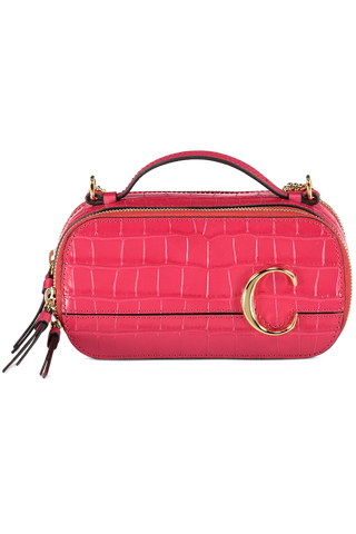 Front Image of The Chloe C Mini Vanity Bag Crimson Pink