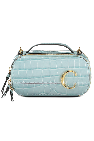 Front view image of The Chloe C Mini Vanity Bag Faded Blue