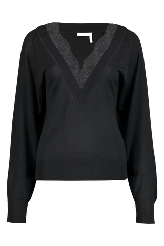 Front view image of V-Neck Lace Sweater