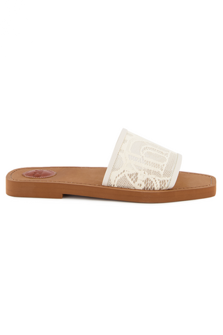 Side view image of Chloé Woody Slides Mild Beige