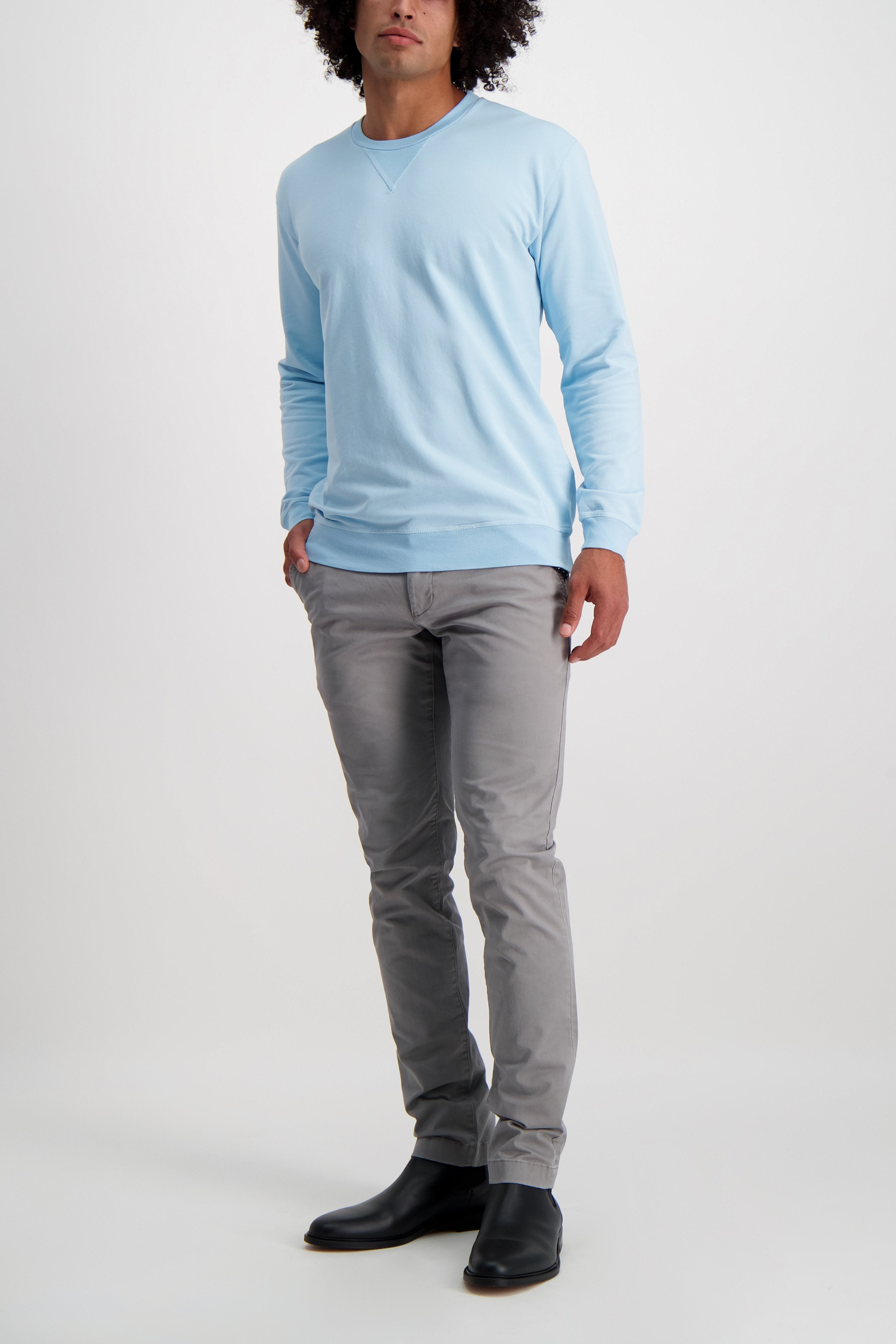 Full Body Image Of Model Wearing CLOSED Clifton Slim Chino Shade Grey