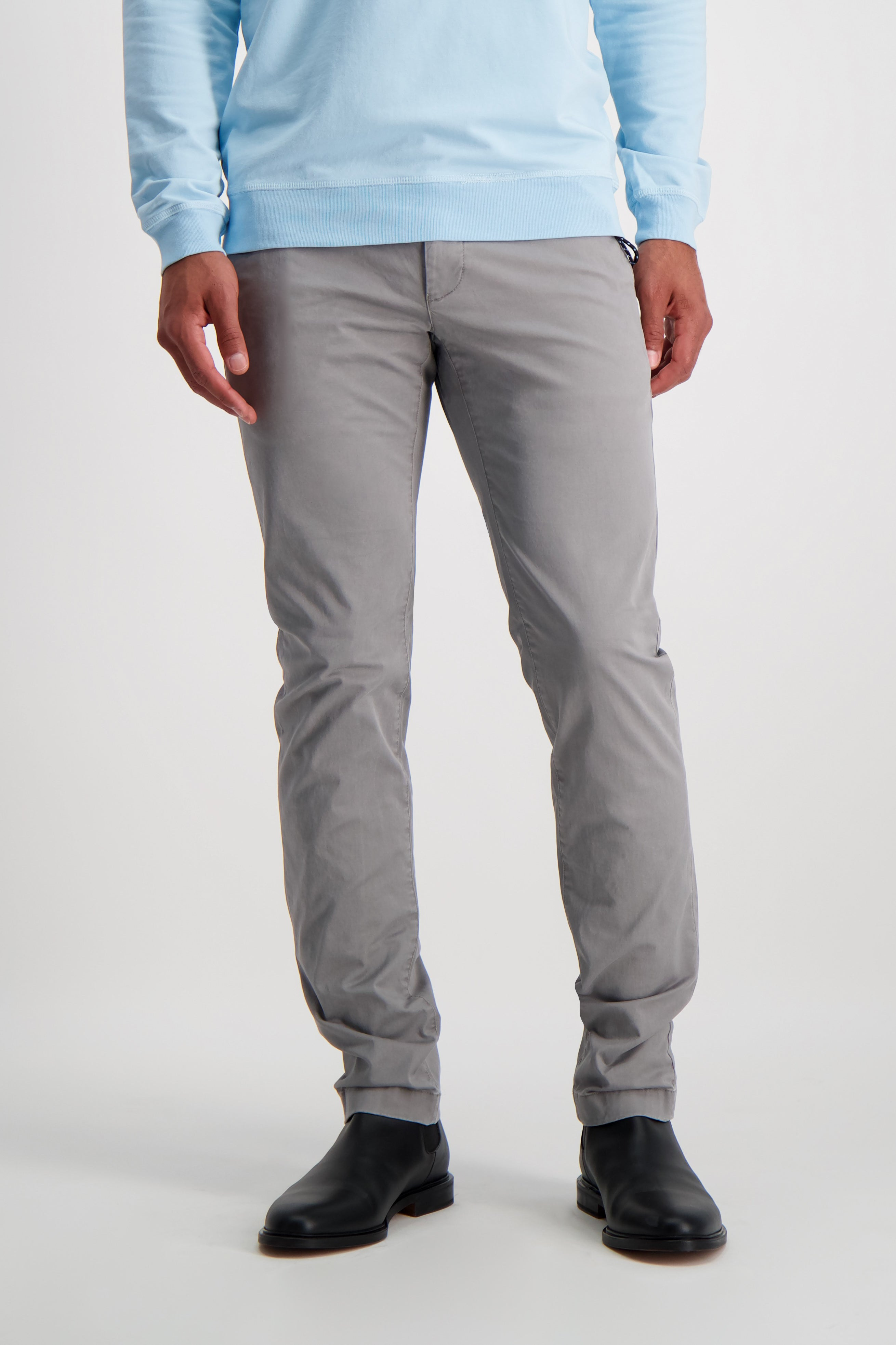 Front Crop Image Of Model Wearing CLOSED Clifton Slim Chino Shade Grey
