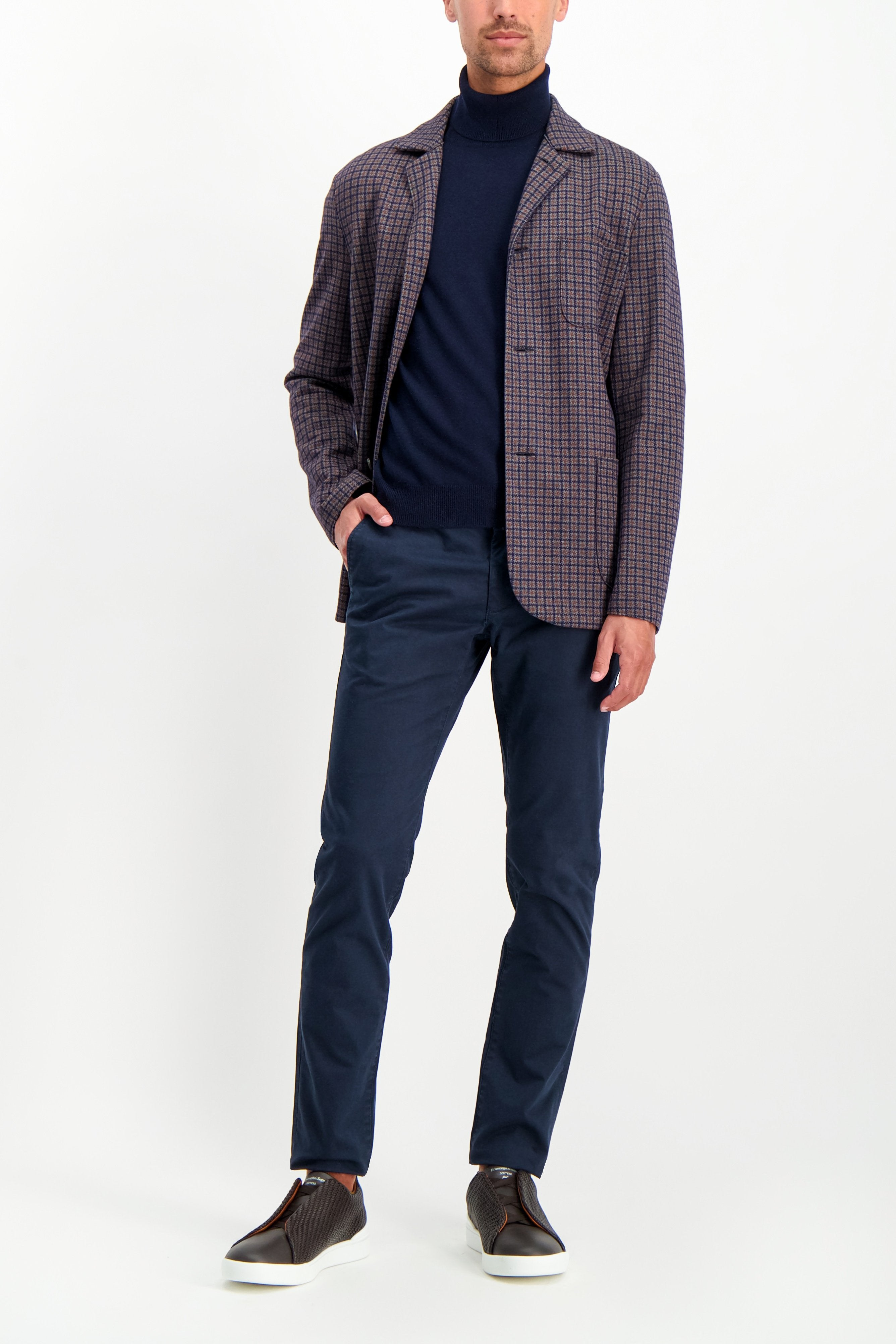 Full Body Image Of Model Wearing CLOSED Clifton Slim Chino Dark Night