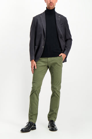 Full Body Image Of Model Wearing CLOSED Clifton Slim Chino Deep Woods