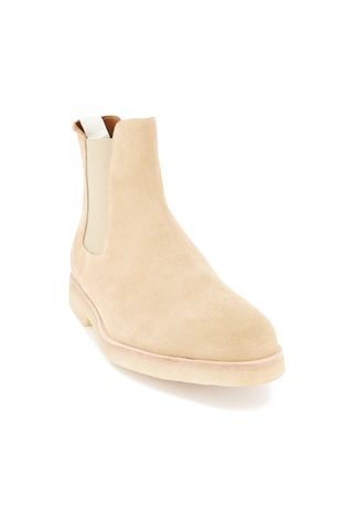 Front angle view of Common Projects Men's Chelsea Boot Suede Tan