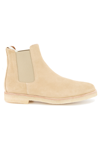 Side view of Common Projects Men's Chelsea Boot Suede Tan