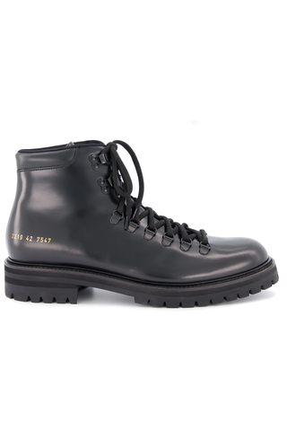 Side view image of Common Projects Men's Hiking Boot Black