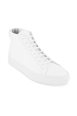 Angled view image of Common Projects Original Achilles Mid Sneaker Leather White