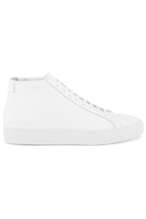 Side view image of Common Projects Original Achilles Mid Sneaker Leather White