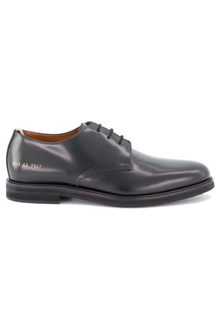 Side view of Common Projects Men's Standard Derby Lace Up Shoe Black