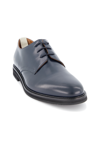 Front angle view of Common Projects Men's Standard Derby Lace Up Shoe Navy