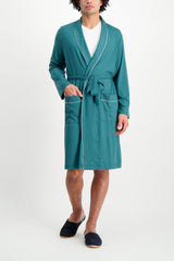 Full Body Image Of Model Wearing Derek Rose Basel 8 Men's Jersey Robe Green