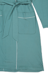 Waist tie and sleeve detail image of Derek Rose Basel 8 Men's Jersey Robe Green