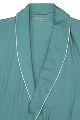 Front collar and lapel detail image of Derek Rose Basel 8 Men's Jersey Robe Green