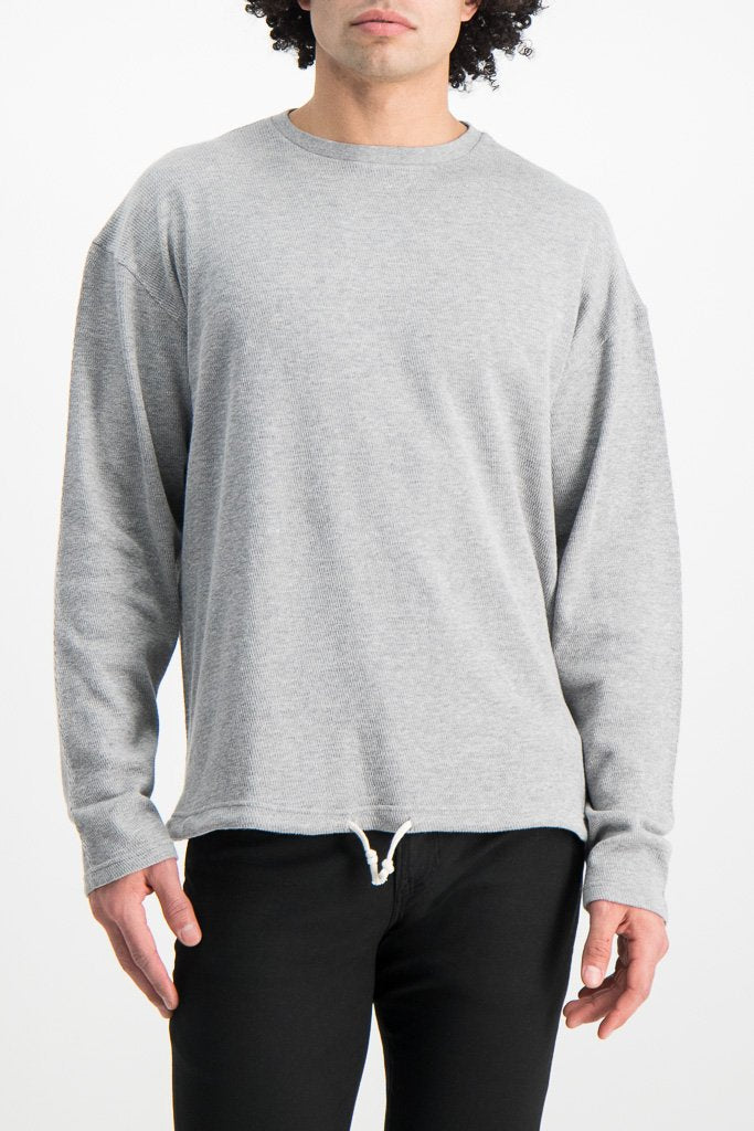 Front Crop Image Of Model Wearing Dubble Works Light Weight Thermal Long Sleeve Shirt