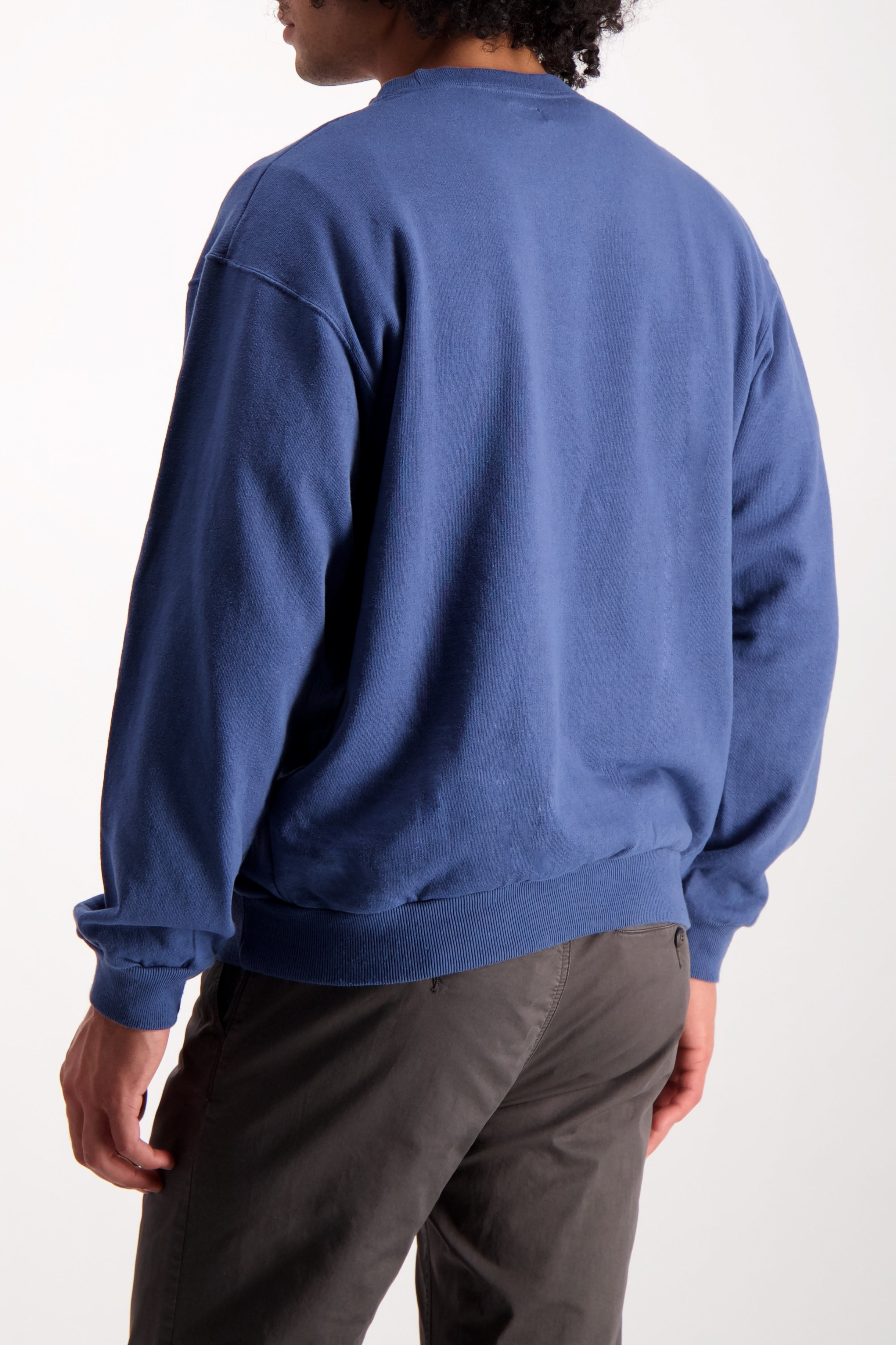 Back Crop Image Of Model Wearing Dubble Works Pocket Crewneck
