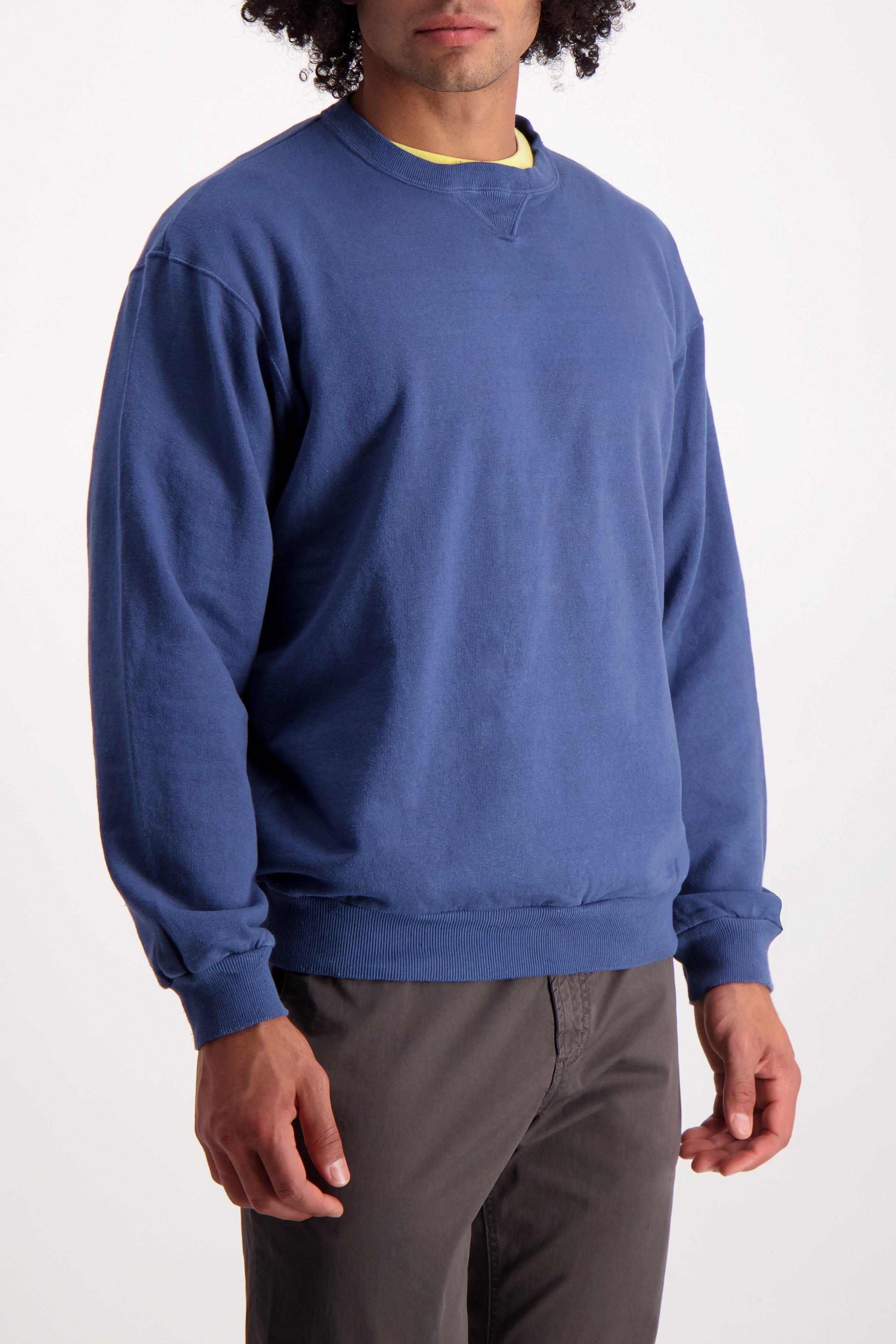 Front Crop Image Of Model Wearing Dubble Works Pocket Crewneck