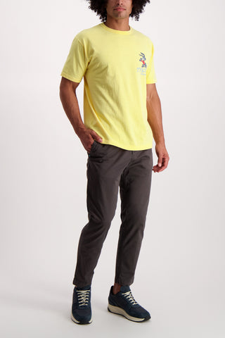 Full Body Image Of Model Wearing Dubble Works Short Sleeve Graphic Cotton T-Shirt Rabbut Vintage Yellow
