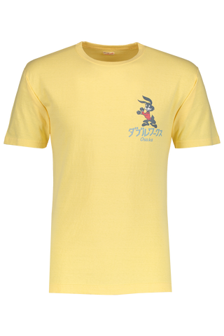 Front image of Dubble Works Short Sleeve Graphic Cotton T-Shirt Rabbut Vintage Yellow