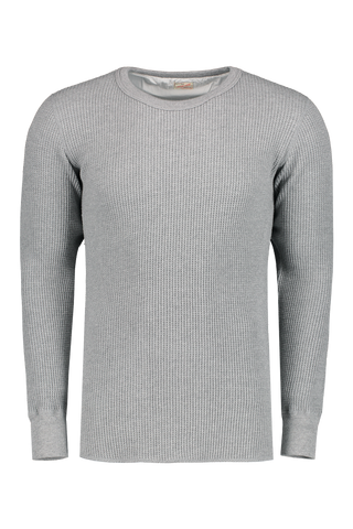 Front Image Of Waffle Thermal T-Shirt Heather Grey