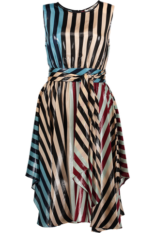 Tie Maxi Dress Carrington Stripe Pacific Black