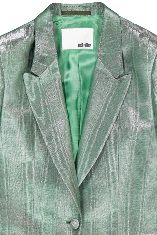 Front collar detail image of Metallic Moire Blazer