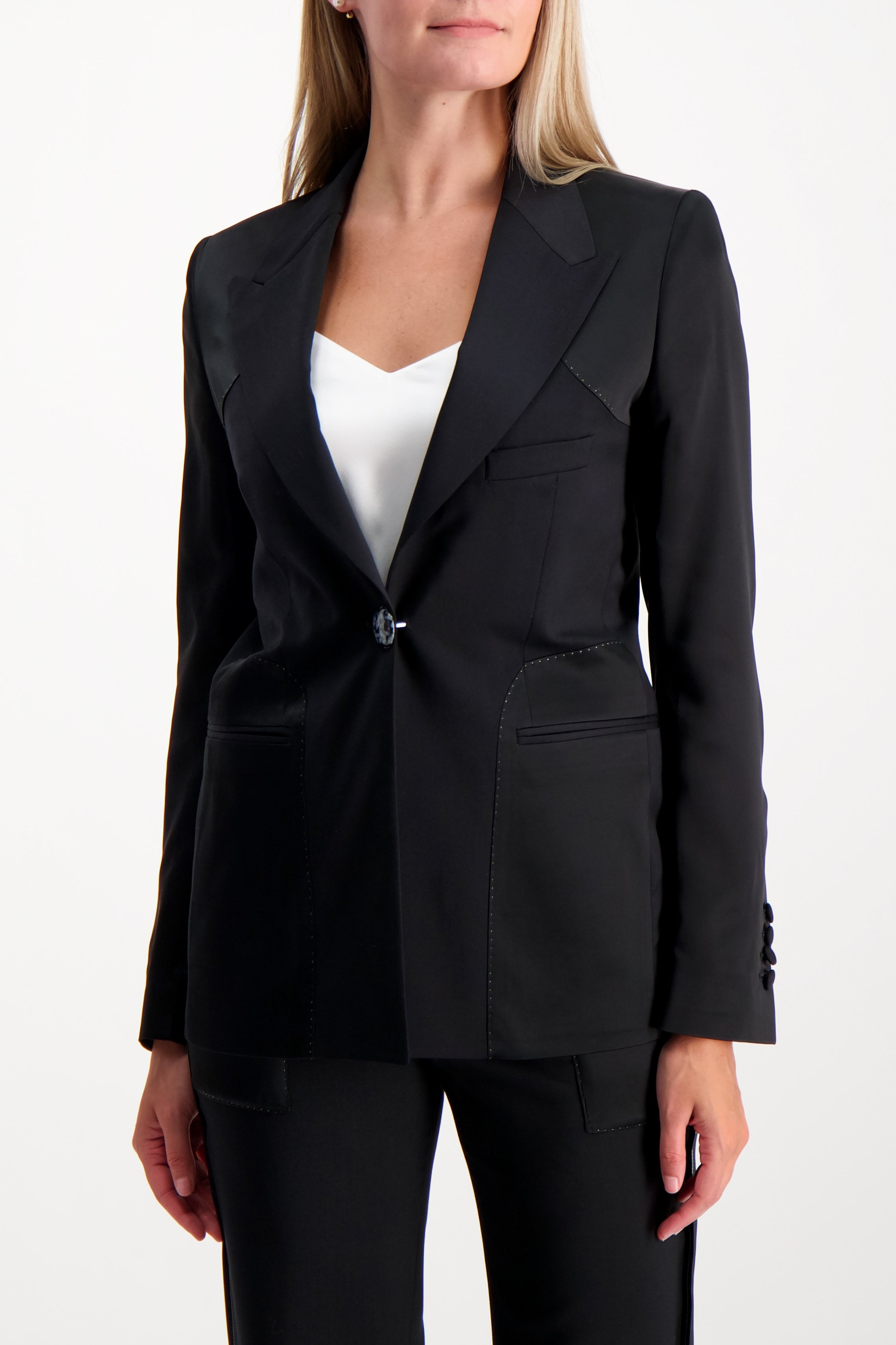 Front Crop Image Of Model Wearing Each X Other Reversed Blazer