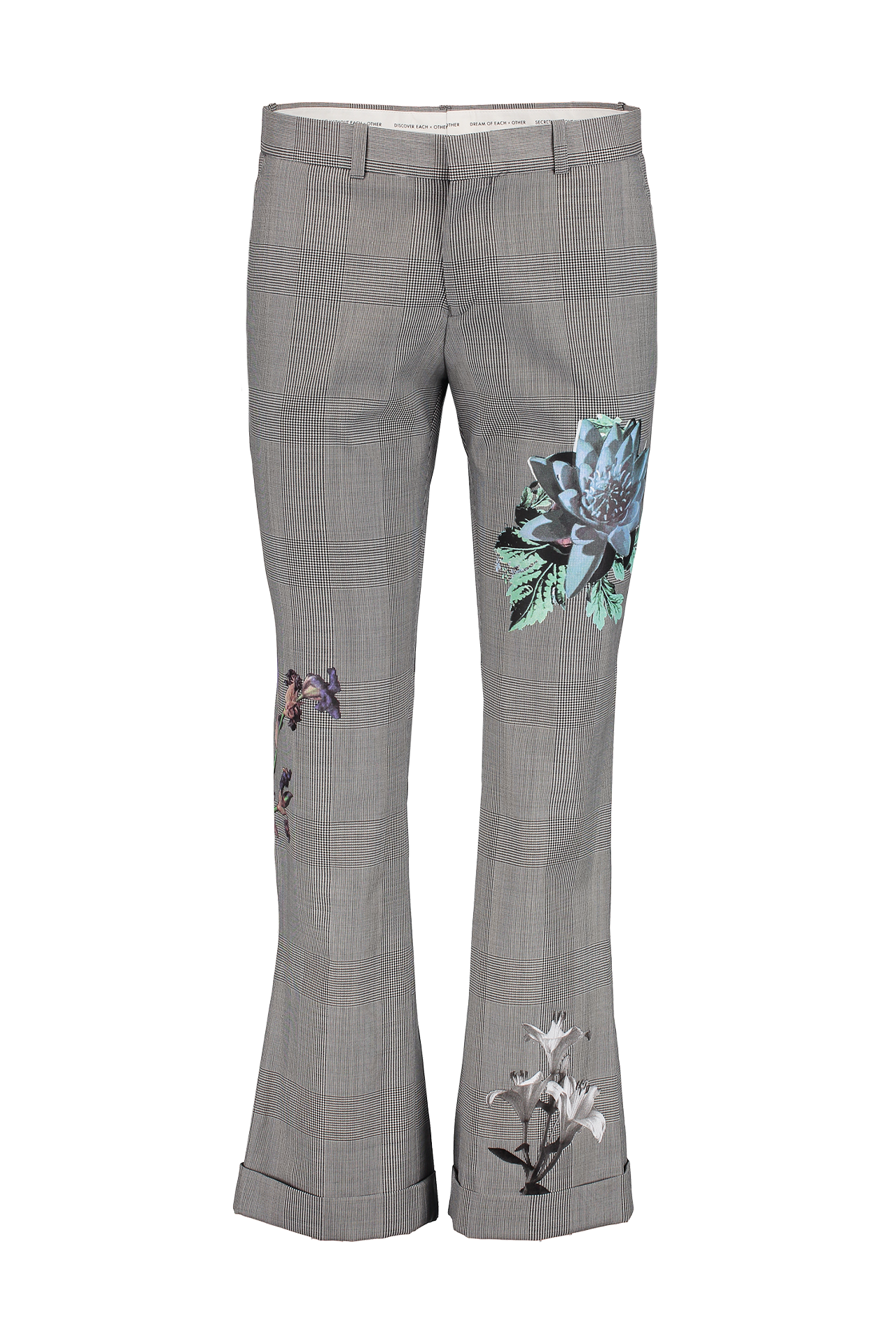 PRINCE OF WALES FLOWER PRINTED TROUSER GREY