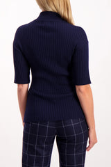 Back Crop Image Of Model Wearing Each x Other Short Sleeve Rib Knit High Neck Sweater