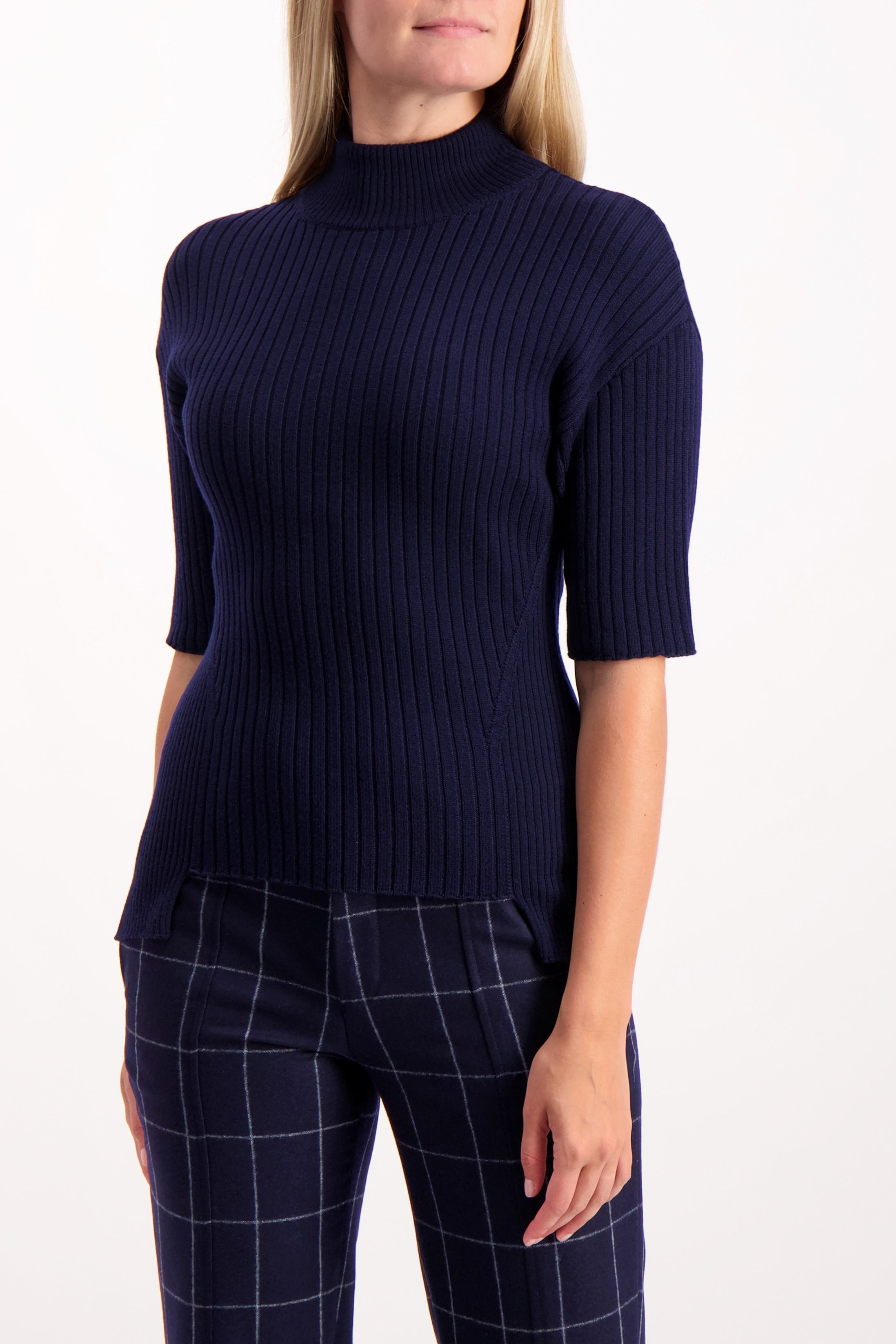 Front Image Of Image Of Model Wearing Each x Other Short Sleeve Rib Knit High Neck Sweater