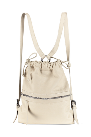 Front hanging image of Eleventy Leather Bucket Bag Crystal