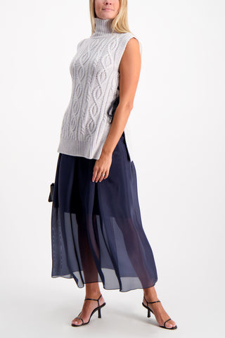 Full Body Image Of Model Wearing Eleventy Maxi Skirt Navy