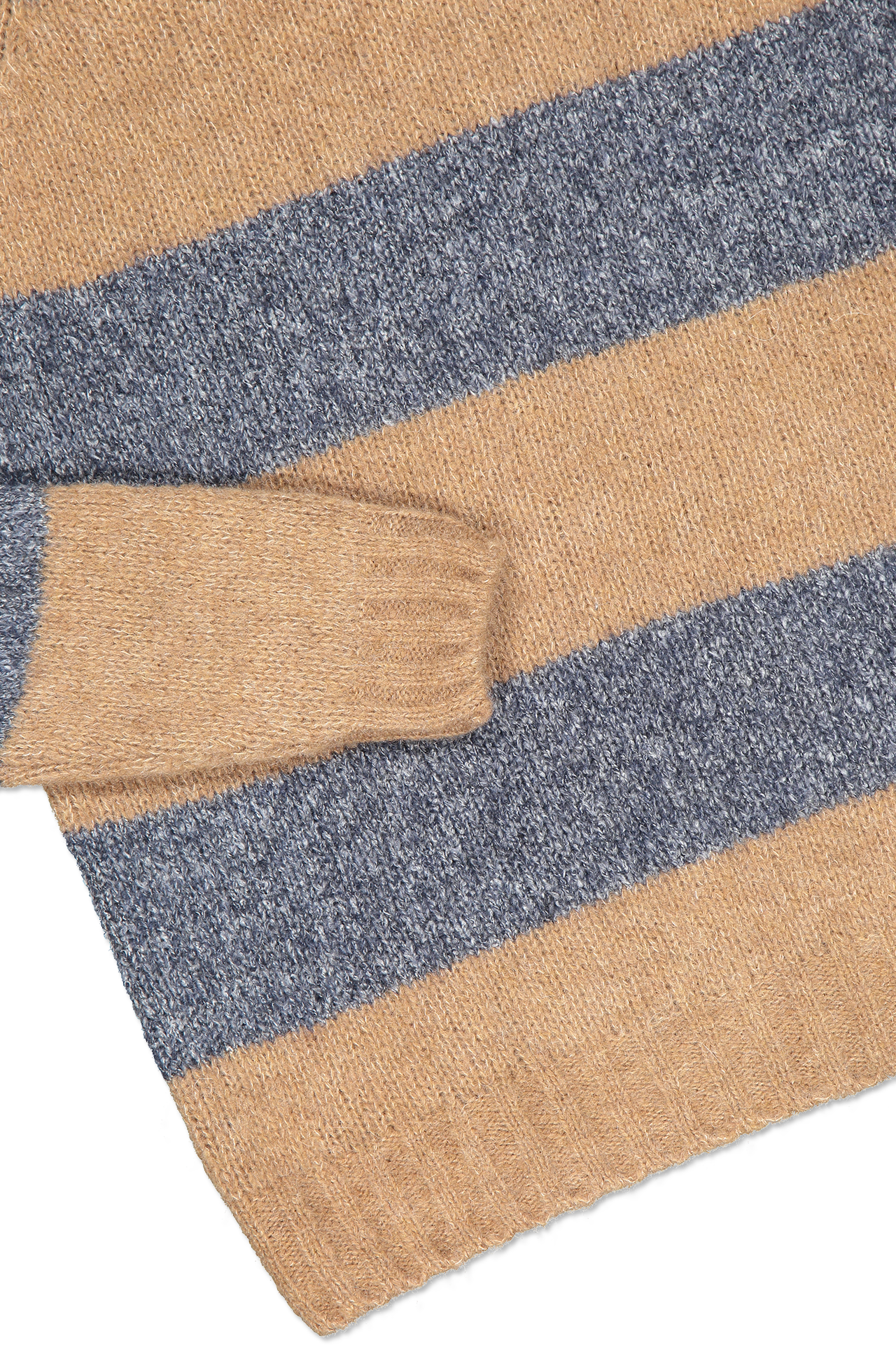 Hemline and cuff detail image of Eleventy Striped Crewneck Sweater