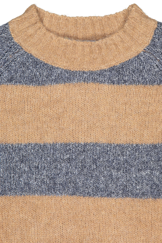 Front collar detail image of Eleventy Striped Crewneck Sweater