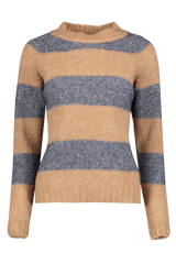Front view image of Eleventy Striped Crewneck Sweater