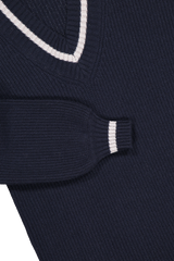 Sleeve and cuff detail image of Eleventy V-Neck Maxi Dress Navy