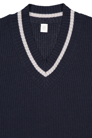 Neckline detail image of Eleventy V-Neck Maxi Dress Navy