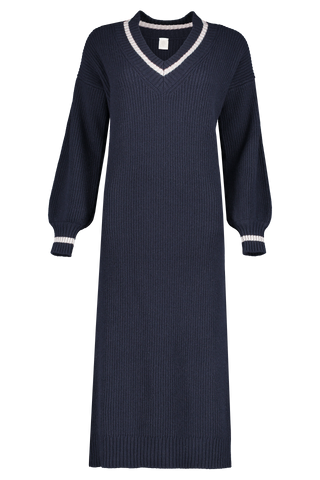 Front view image of Eleventy V-Neck Maxi Dress Navy