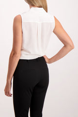 Back Crop Image Of Model Wearing Equipment Sleeveless Slim Signature Blouse