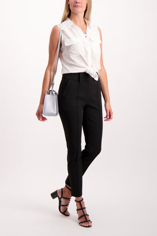 Full Body Image Of Model Wearing Equipment Sleeveless Slim Signature Blouse