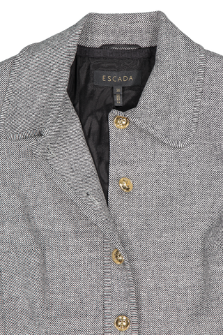 Front collar and lapel detail image of Escada Belanya Blazer Black