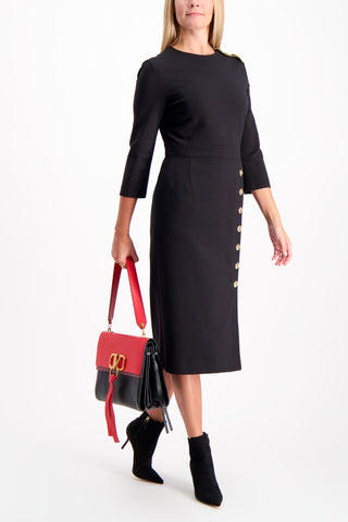 Full Body Image Of Model Wearing Escada Dhenia Dress Black